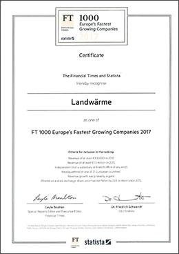 Urkunde Landwärme Platz 10 im FT1000-Gesamtranking.